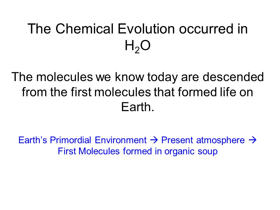 The Chemical Evolution occurred in H 2 O The molecules we know today are descended from the first molecules that formed life on Earth.