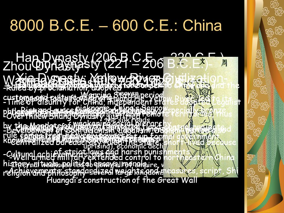 600 – 1450: China Bubonic Plague- -spread from southwestern China (1300) killing 90% of Chinese living in the northeast Ming Dynasty and Zheng He- -funded Zheng He's voyages from 1405-1433, demonstrating China's ability to be a military, political and economic power in the Indian Ocean -established tributary relationships Sui Dynasty (589–618 CE)- -Built Grand Canal, linked northern and southern economies -610s:rebellions broke out in northern China -618: emperor Sui Yangdi was assassinated and the dynasty ended Tang Dynasty (618–907 CE)- -Tang Taizong saw himself as a Confucian ruler -Equal distribution of agricultural land kept land out of the hands of wealthy elite -Government jobs in extensive bureaucracy were merit based, determined by civil service exams -Military conquests included Manchuria, Tibet, Korea and Vietnam Song Dynasty (960-1279)- -Song Taizu started distrust of military leaders, focused on civil service exams -Financial problems: bureaucracy too big -Military problems: scholar bureaucrats' had limited military experience Technological Development of Tang and Song Dynasties- -abundant food supplies, high quality porcelain, metallurgic technologies (iron and steal stronger) -Military advances: gunpowder, Printing technology: movable type Yuan Dynasty- -established by Mongols, keep some Chinese aspects -china prospers under the Yuan economically because of an increase in the use of trade routes and silk roads Neo-Confucianism- -developed in response to the growing popularity of Buddhism -combination of Confucian and Buddhist beliefs, continuation of civil service exams