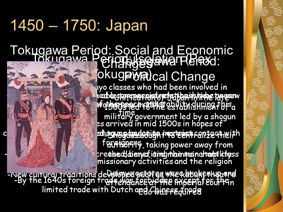 1450 – 1750: Japan Tokugawa Period: Social and Economic Changes -The samurai and daimyo classes who had been involved in fighting civil wars were able