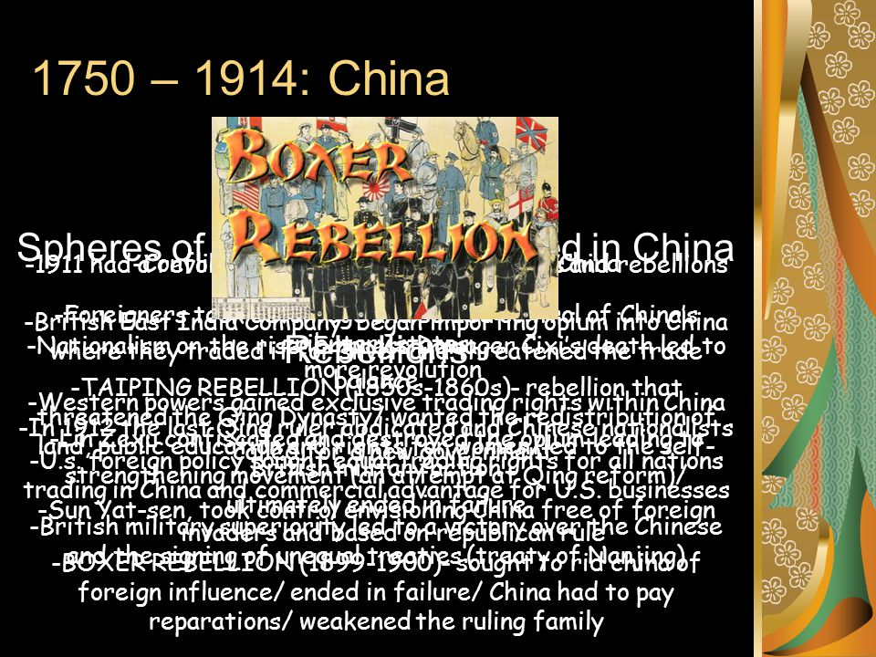 1750 – 1914: China Fall of the Qing -1911 had a revolution in China, unequal treaties and rebellions left the ruling family weak -Nationalism on the r