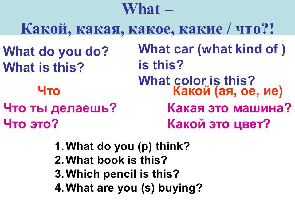 What – Какой, какая, какое, какие / что?.What do you do.