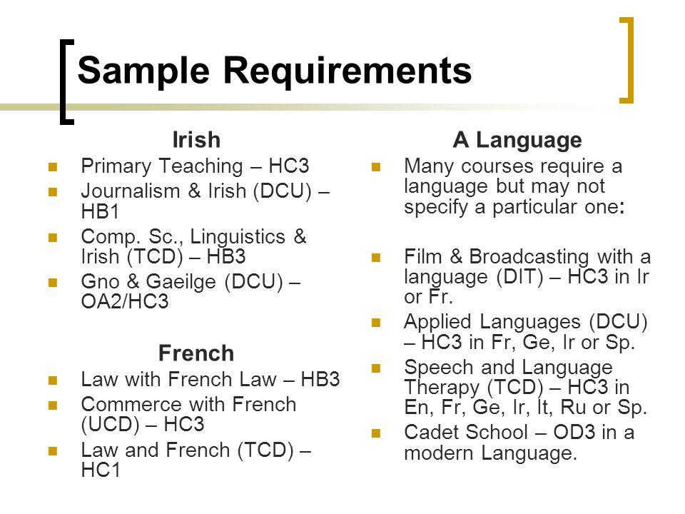 Sample Requirements Irish Primary Teaching – HC3 Journalism & Irish (DCU) – HB1 Comp.