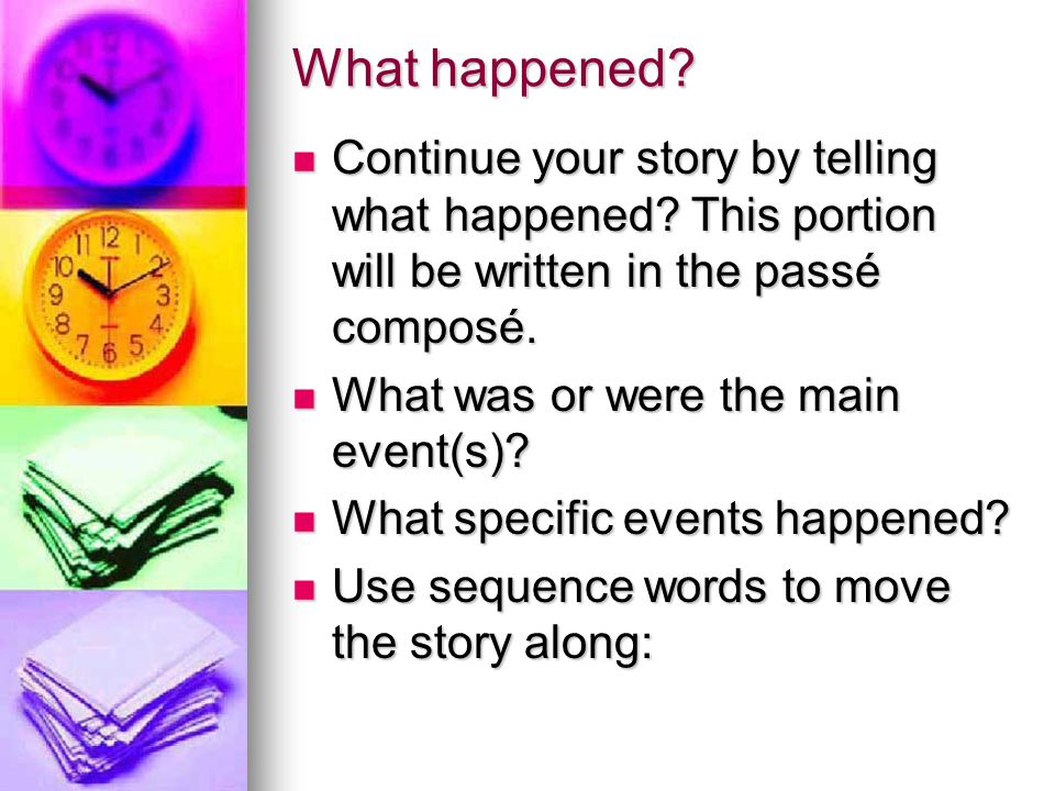 What happened? Continue your story by telling what happened? This portion will be written in the passé composé. Continue your story by telling what ha