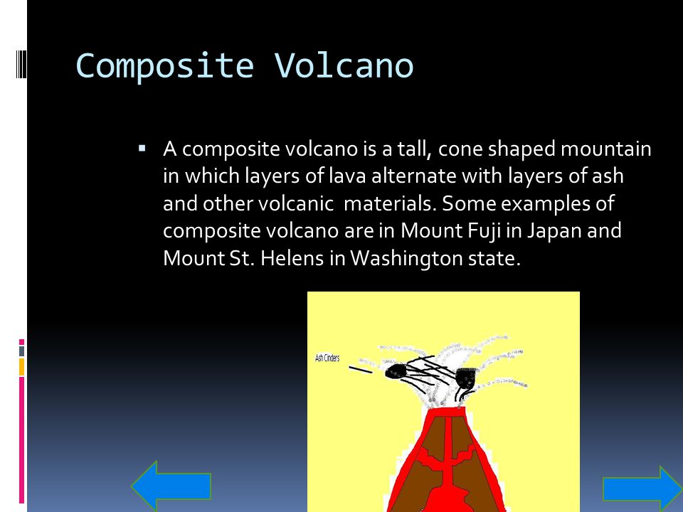 Composite Volcano  A composite volcano is a tall, cone shaped mountain in which layers of lava alternate with layers of ash and other volcanic materi