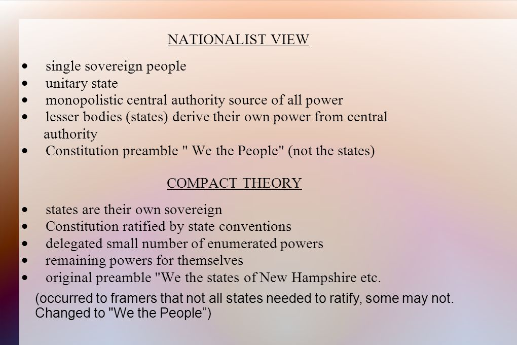NATIONALIST VIEW  single sovereign people  unitary state  monopolistic central authority source of all power  lesser bodies (states) derive their