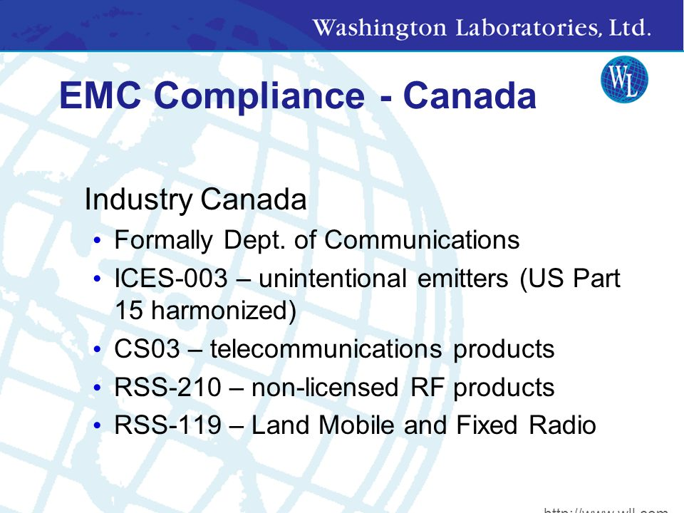 EMC Compliance - Canada Industry Canada Formally Dept.
