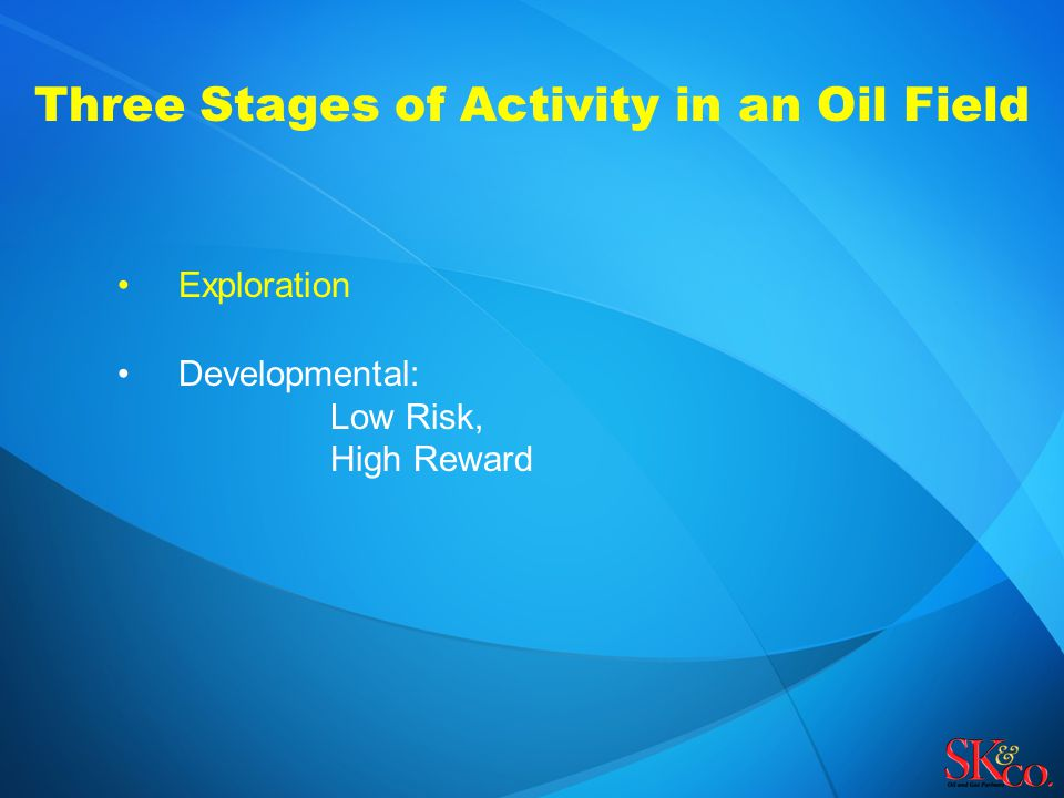 Three Stages of Activity in an Oil Field Exploration Developmental: Low Risk, High Reward