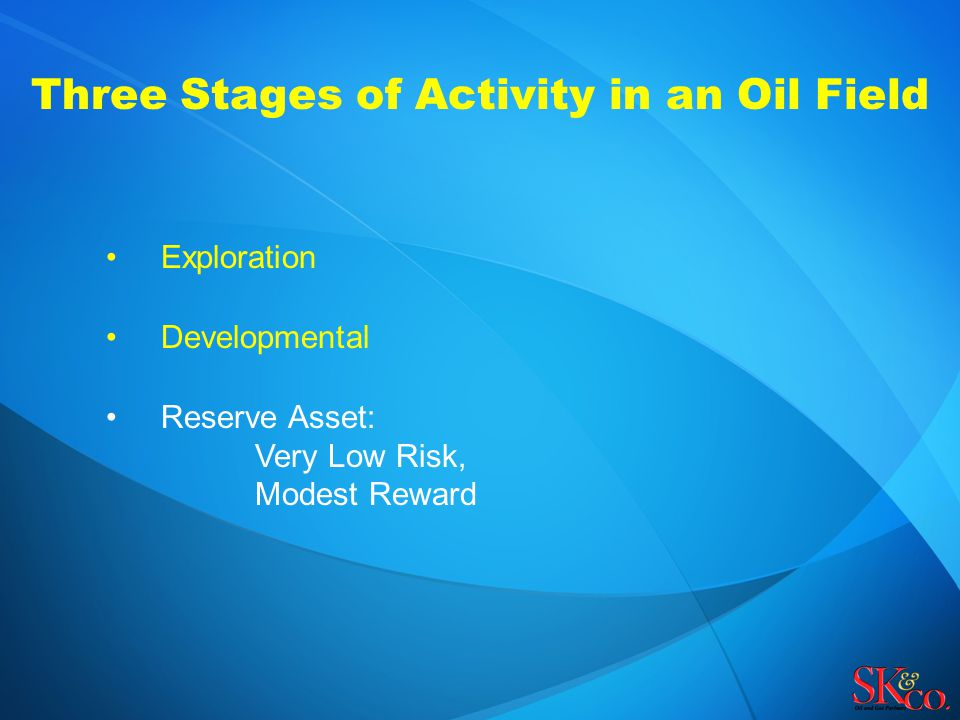 Three Stages of Activity in an Oil Field Exploration Developmental Reserve Asset: Very Low Risk, Modest Reward