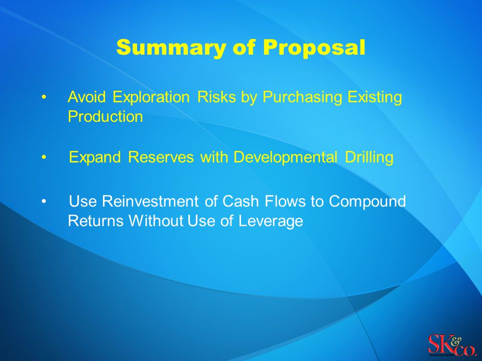 Summary of Proposal Avoid Exploration Risks by Purchasing Existing Production Expand Reserves with Developmental Drilling Use Reinvestment of Cash Flo