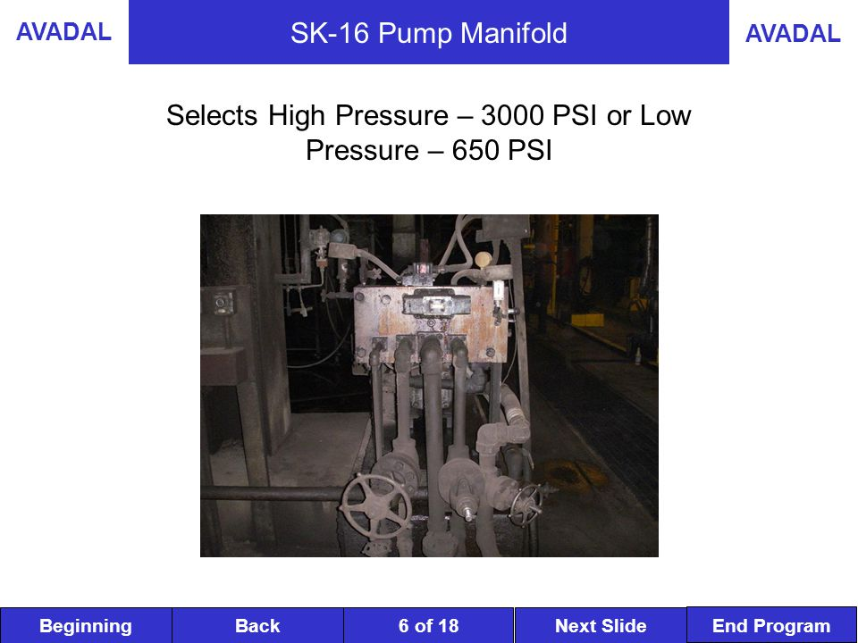 BeginningNext SlideBack End Program AVADAL 7 of 18 SK-16 Main Pumps The purpose of these pump modules is to provide the high and low hydraulic fluid power pressures required to sustain continuous and ample supply to the various components which position and hold the rolls on the Caster.