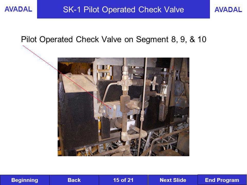 BeginningNext SlideBack End Program AVADAL 15 of 21 SK-1 Pilot Operated Check Valve Pilot Operated Check Valve on Segment 8, 9, & 10