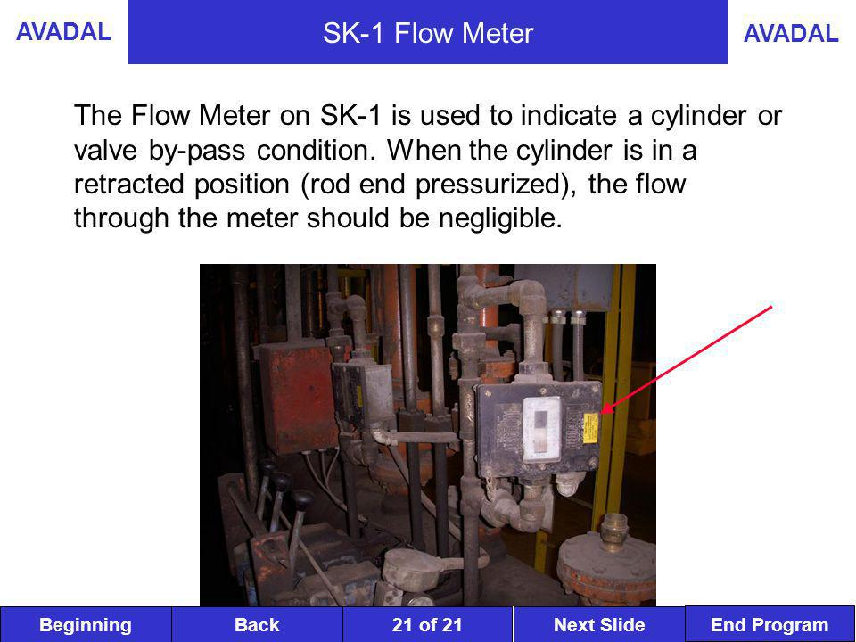 BeginningNext SlideBack End Program AVADAL 21 of 21 SK-1 Flow Meter The Flow Meter on SK-1 is used to indicate a cylinder or valve by-pass condition.
