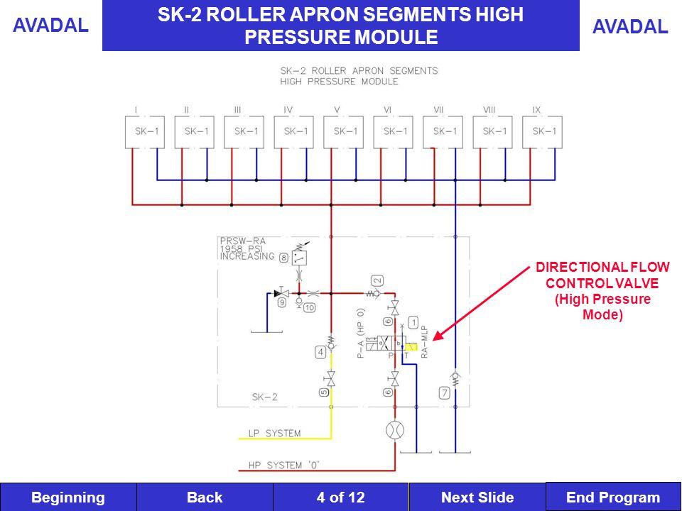 BeginningNext SlideBack End Program AVADAL 4 of 12 SK-2 ROLLER APRON SEGMENTS HIGH PRESSURE MODULE DIRECTIONAL FLOW CONTROL VALVE (High Pressure Mode)