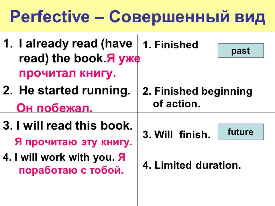 Perfective – Совершенный вид 1.I already read (have read) the book.Я уже прочитал книгу.