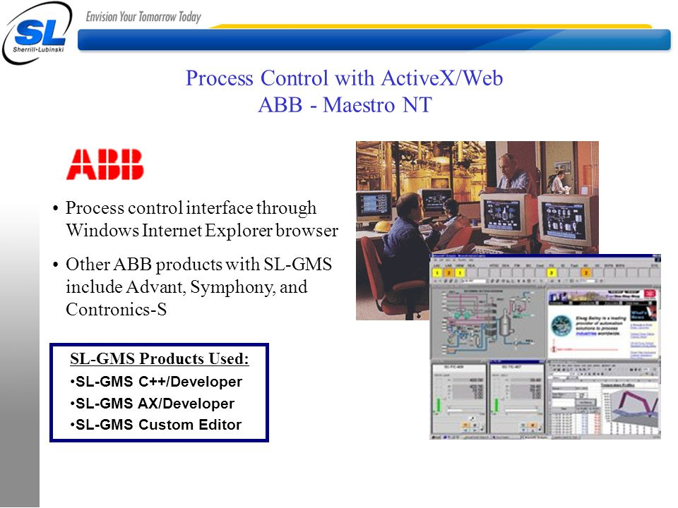 Process Control with ActiveX/Web ABB - Maestro NT Process control interface through Windows Internet Explorer browser Other ABB products with SL-GMS i