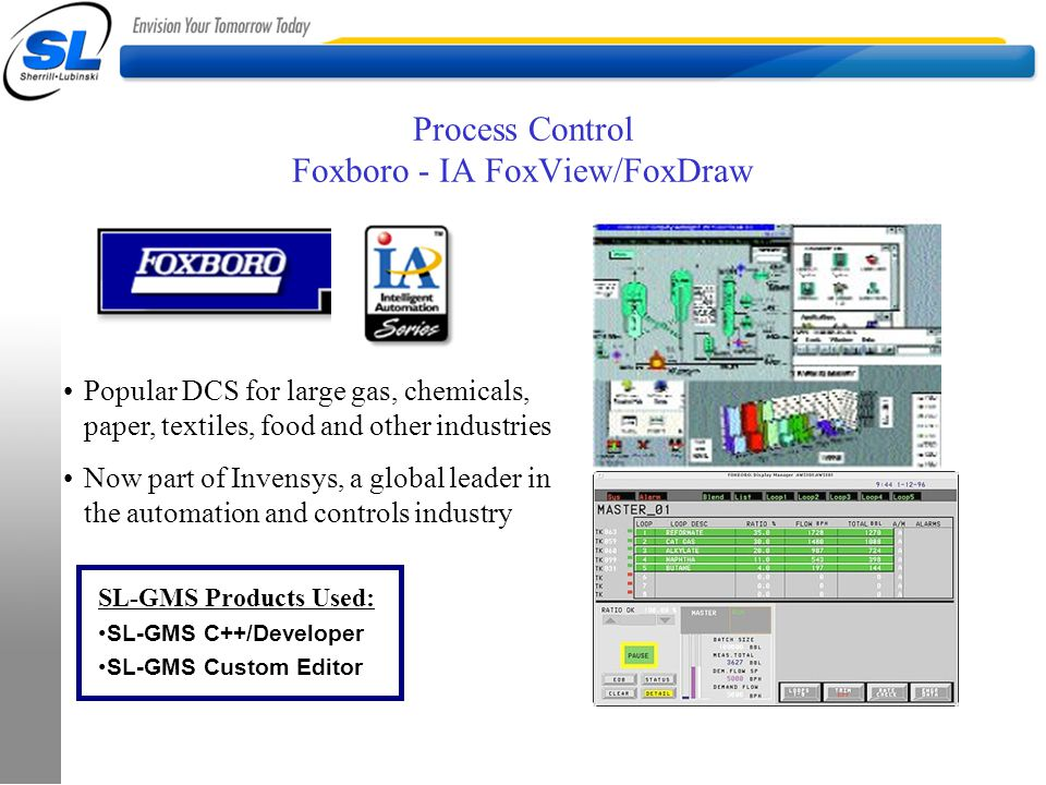 Process Control Foxboro - IA FoxView/FoxDraw Popular DCS for large gas, chemicals, paper, textiles, food and other industries Now part of Invensys, a