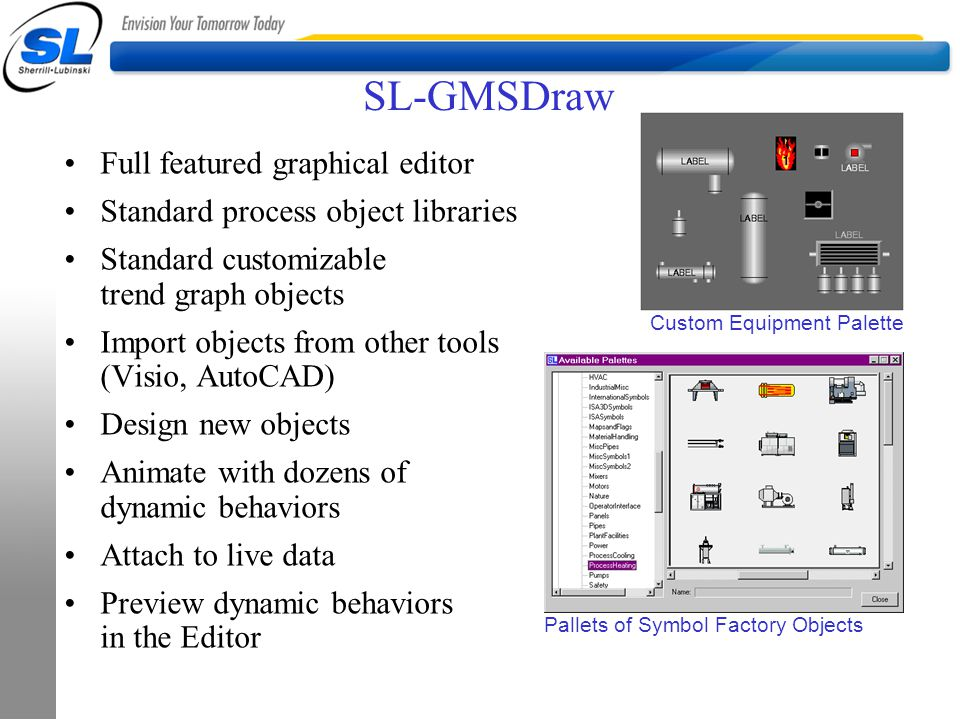 SL-GMSDraw Full featured graphical editor Standard process object libraries Standard customizable trend graph objects Import objects from other tools