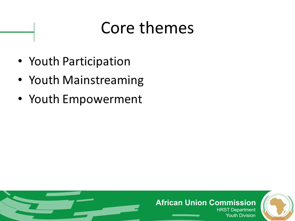 Core themes Youth Participation Youth Mainstreaming Youth Empowerment