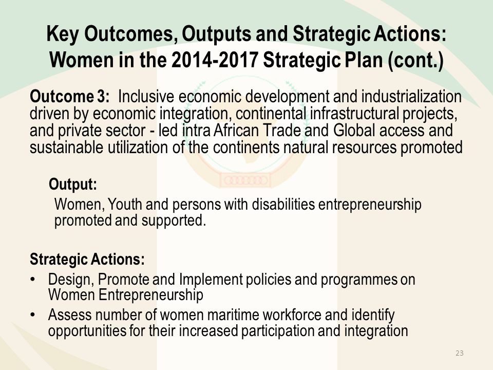 Key Outcomes, Outputs and Strategic Actions: Women in the 2014-2017 Strategic Plan (cont.) Outcome 3: Inclusive economic development and industrializa