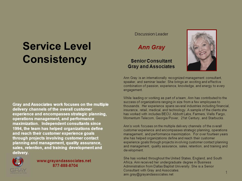 1 Discussion Leader Ann Gray Senior Consultant Gray and Associates Ann Gray is an internationally recognized management consultant, speaker, and semin