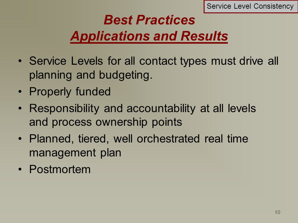 10 Best Practices Applications and Results Service Levels for all contact types must drive all planning and budgeting. Properly funded Responsibility