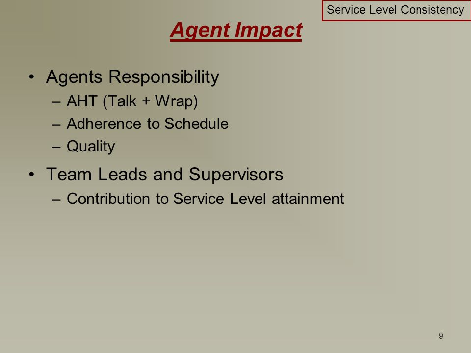 9 Agent Impact Agents Responsibility –AHT (Talk + Wrap) –Adherence to Schedule –Quality Team Leads and Supervisors –Contribution to Service Level atta