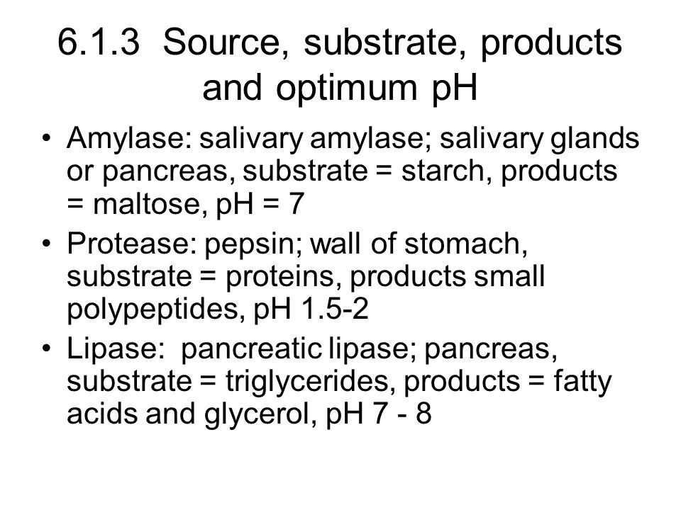 6.1.3 Source, substrate, products and optimum pH Amylase: salivary amylase; salivary glands or pancreas, substrate = starch, products = maltose, pH = 7 Protease: pepsin; wall of stomach, substrate = proteins, products small polypeptides, pH 1.5-2 Lipase: pancreatic lipase; pancreas, substrate = triglycerides, products = fatty acids and glycerol, pH 7 - 8