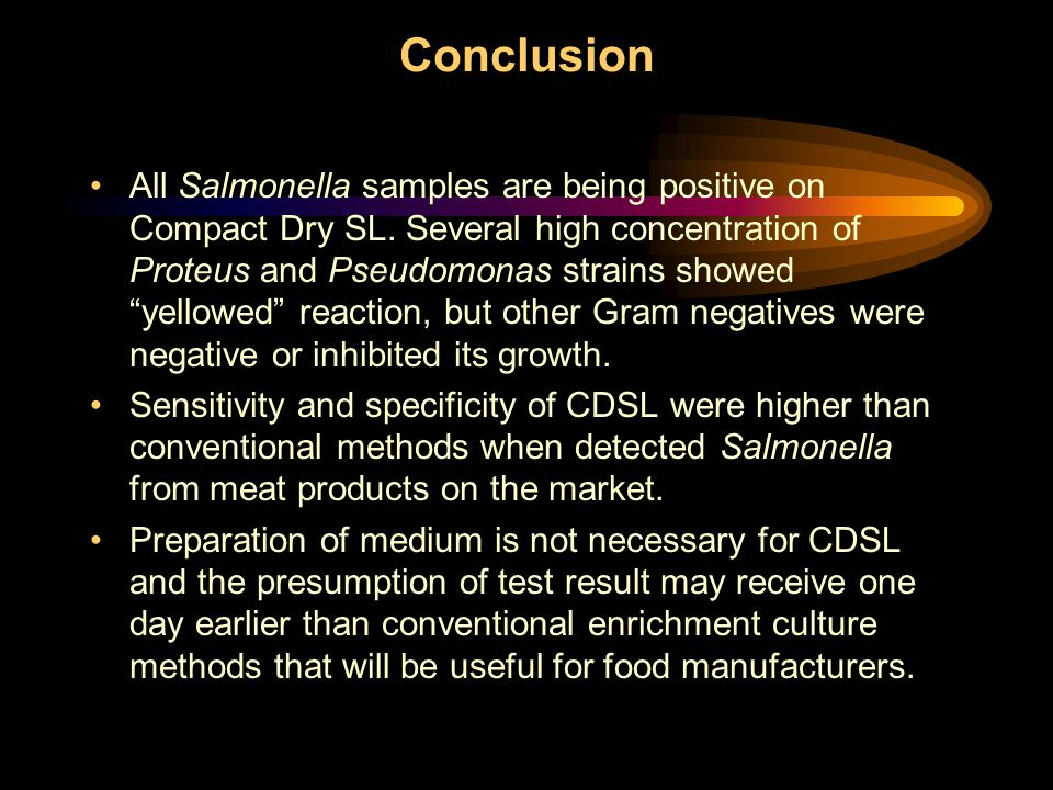 Conclusion All Salmonella samples are being positive on Compact Dry SL.