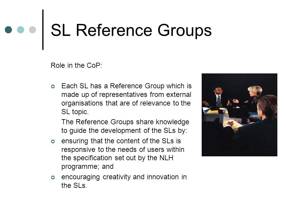 SL Reference Groups Role in the CoP: Each SL has a Reference Group which is made up of representatives from external organisations that are of relevance to the SL topic.