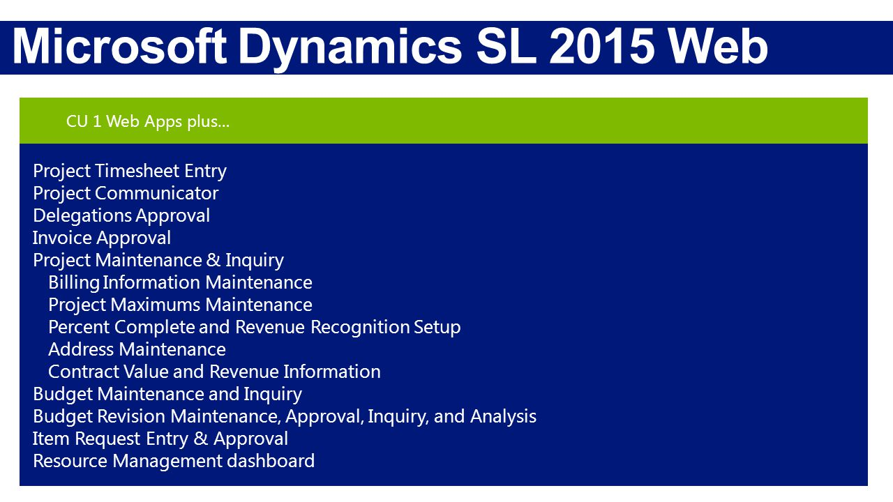 Microsoft Dynamics SL 2015 Web Apps CU 1 Web Apps plus… Project Timesheet Entry Project Communicator Delegations Approval Invoice Approval Project Maintenance & Inquiry Billing Information Maintenance Project Maximums Maintenance Percent Complete and Revenue Recognition Setup Address Maintenance Contract Value and Revenue Information Budget Maintenance and Inquiry Budget Revision Maintenance, Approval, Inquiry, and Analysis Item Request Entry & Approval Resource Management dashboard