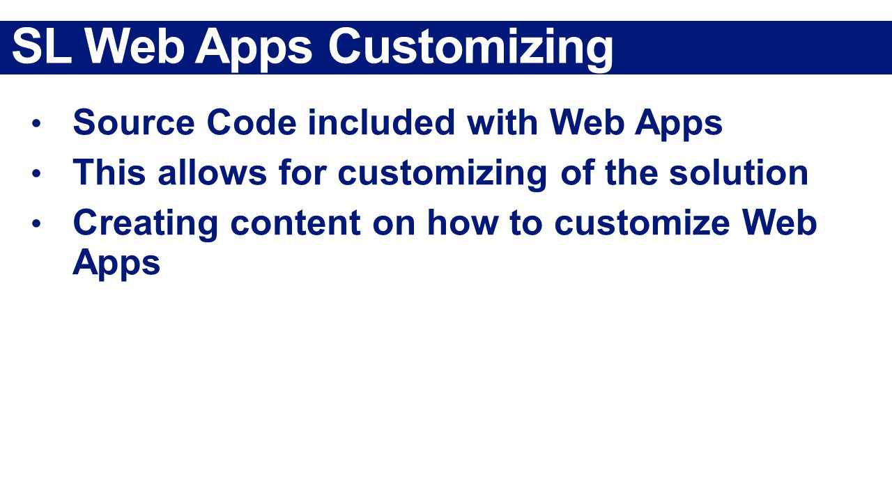 SL Web Apps Customizing