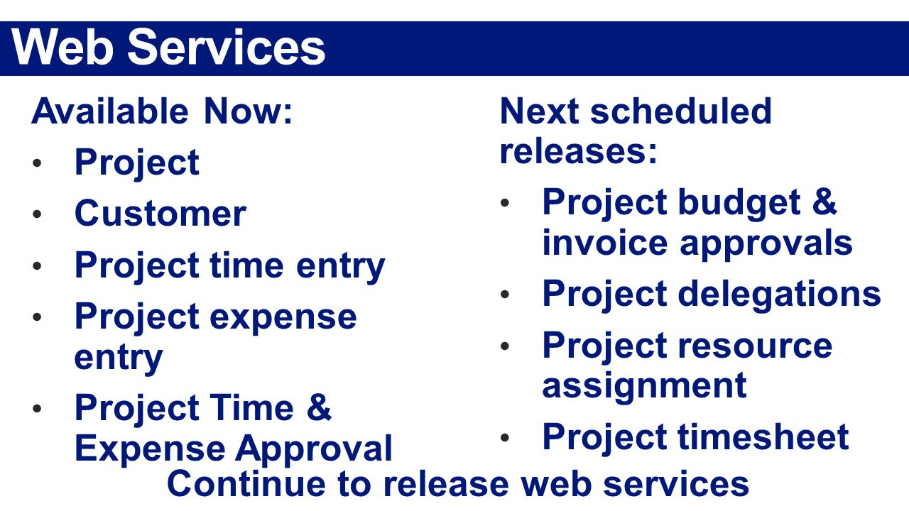 Web Services Continue to release web services