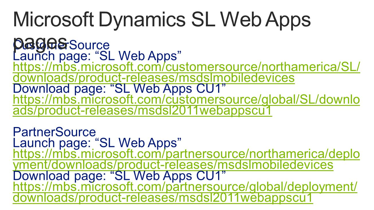 Microsoft Dynamics SL Web Apps pages