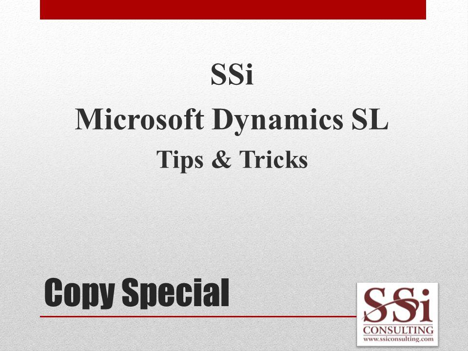 Copy Special SSi Microsoft Dynamics SL Tips & Tricks