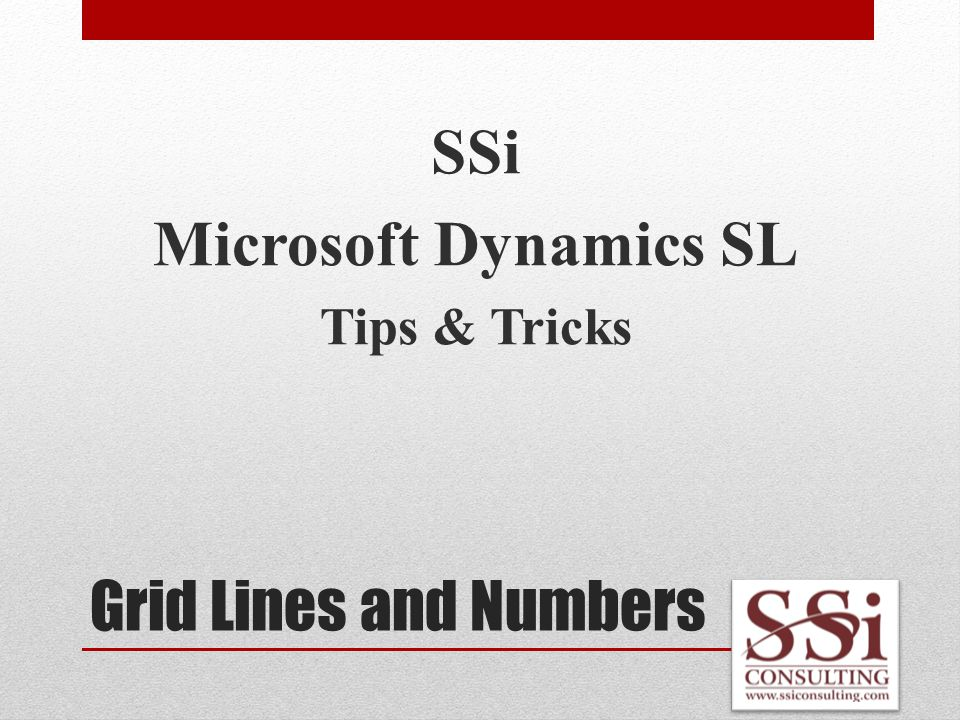 Grid Lines and Numbers SSi Microsoft Dynamics SL Tips & Tricks