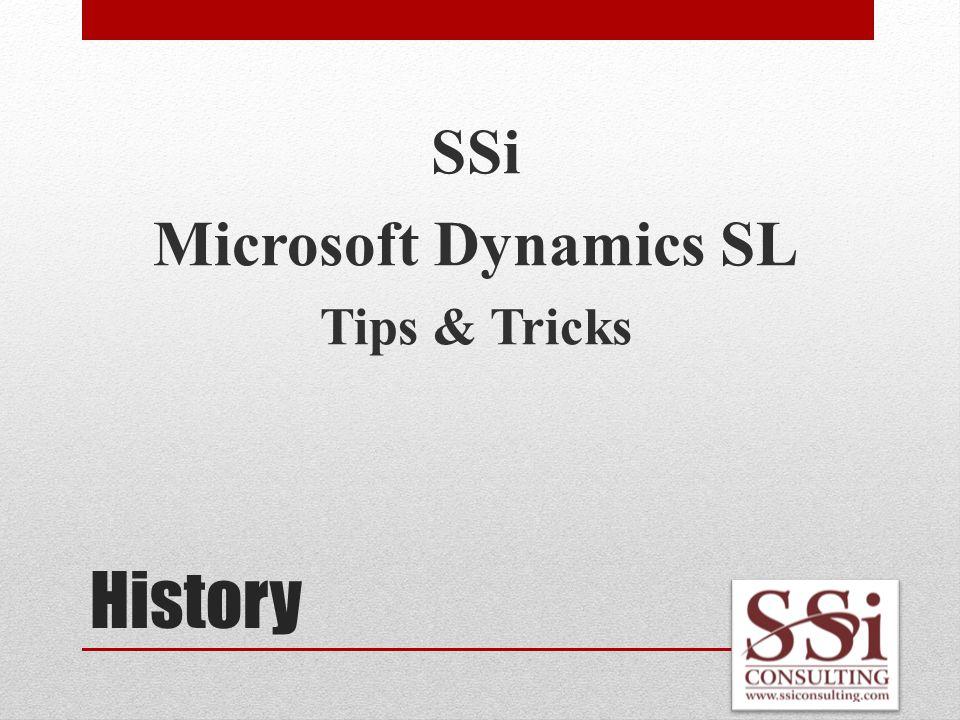 History SSi Microsoft Dynamics SL Tips & Tricks