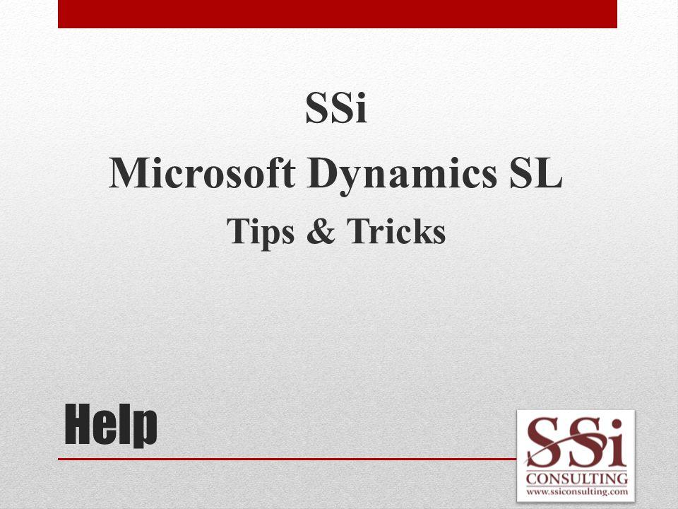 Help SSi Microsoft Dynamics SL Tips & Tricks
