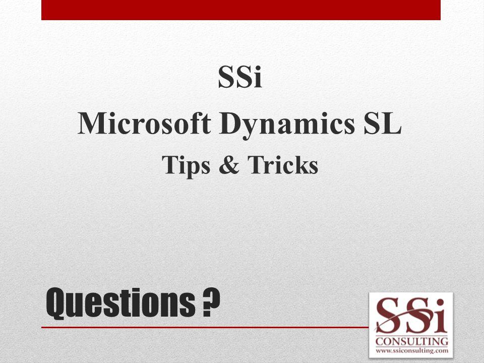 Questions SSi Microsoft Dynamics SL Tips & Tricks