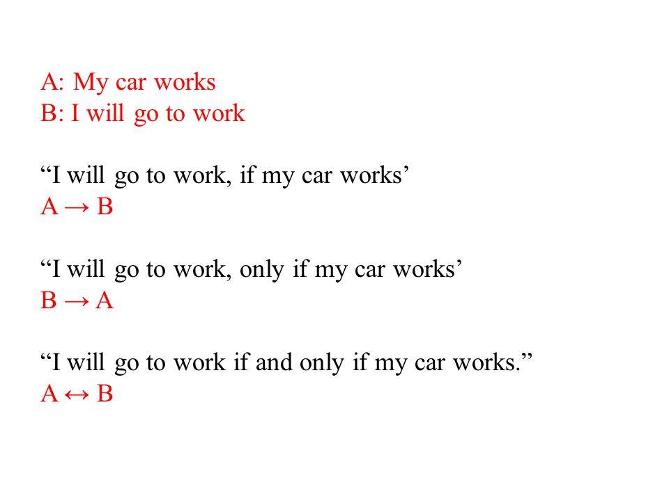 "A: My car works B: I will go to work ""I will go to work, if my car works' A → B ""I will go to work, only if my car works' B → A ""I will go to work if"