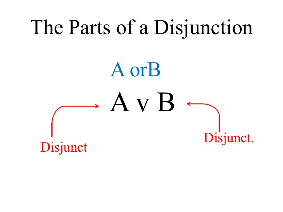 The Parts of a Disjunction A v B A orB Disjunct. Disjunct