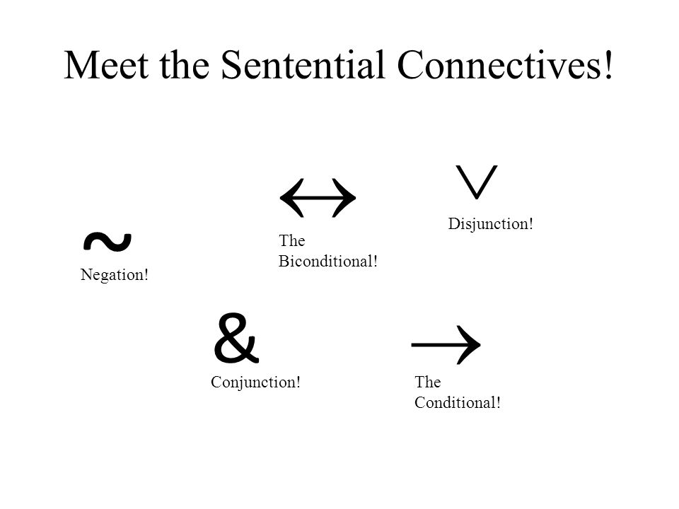 Meet the Sentential Connectives. ~ Negation. & Conjunction.