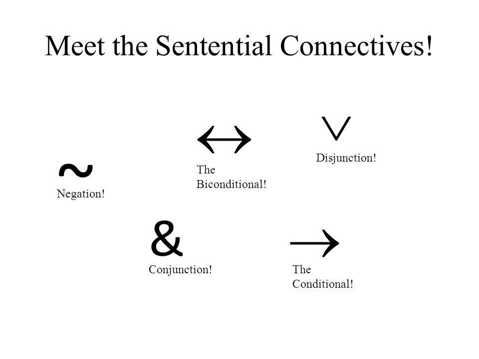 Meet the Sentential Connectives! ~ Negation! & Conjunction!  The Conditional!  The Biconditional!  Disjunction!