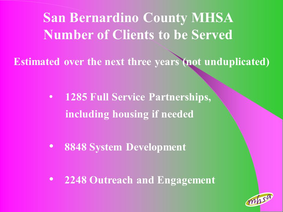 San Bernardino County MHSA Number of Clients to be Served Estimated over the next three years (not unduplicated) 1285 Full Service Partnerships, inclu