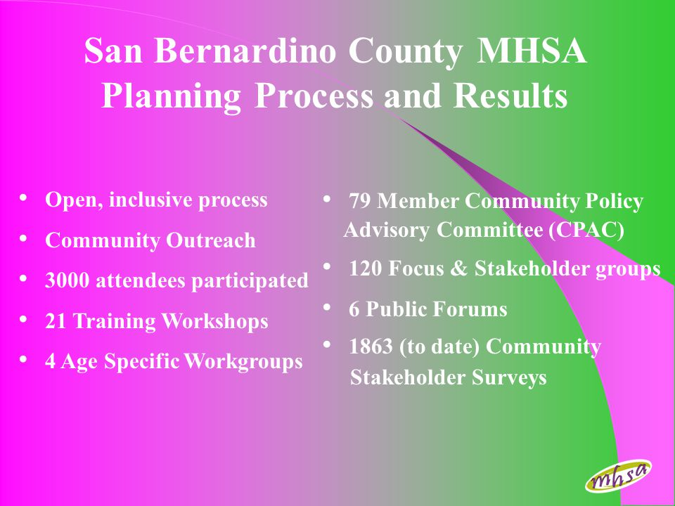 San Bernardino County MHSA Planning Process and Results Open, inclusive process Community Outreach 3000 attendees participated 21 Training Workshops 4