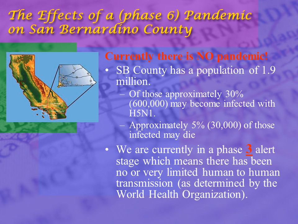 Currently there is NO pandemic. SB County has a population of 1.9 million.