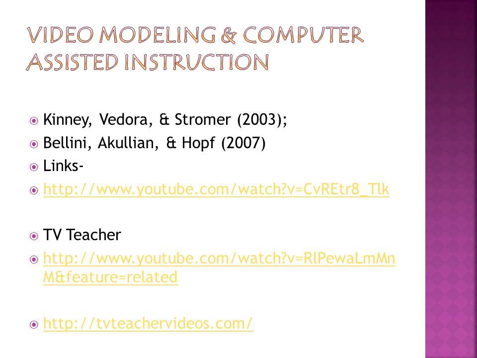  Kinney, Vedora, & Stromer (2003);  Bellini, Akullian, & Hopf (2007)  Links-  http://www.youtube.com/watch v=CvREtr8_Tlk http://www.youtube.com/watch v=CvREtr8_Tlk  TV Teacher  http://www.youtube.com/watch v=RlPewaLmMn M&feature=related http://www.youtube.com/watch v=RlPewaLmMn M&feature=related  http://tvteachervideos.com/ http://tvteachervideos.com/