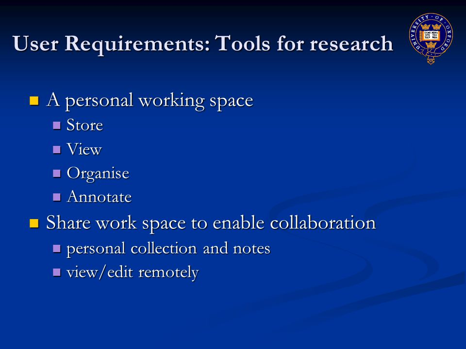 User Requirements: Tools for research A personal working space A personal working space Store Store View View Organise Organise Annotate Annotate Share work space to enable collaboration Share work space to enable collaboration personal collection and notes personal collection and notes view/edit remotely view/edit remotely