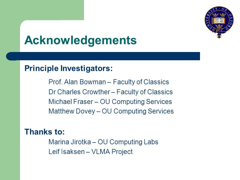 Acknowledgements Principle Investigators: Prof.