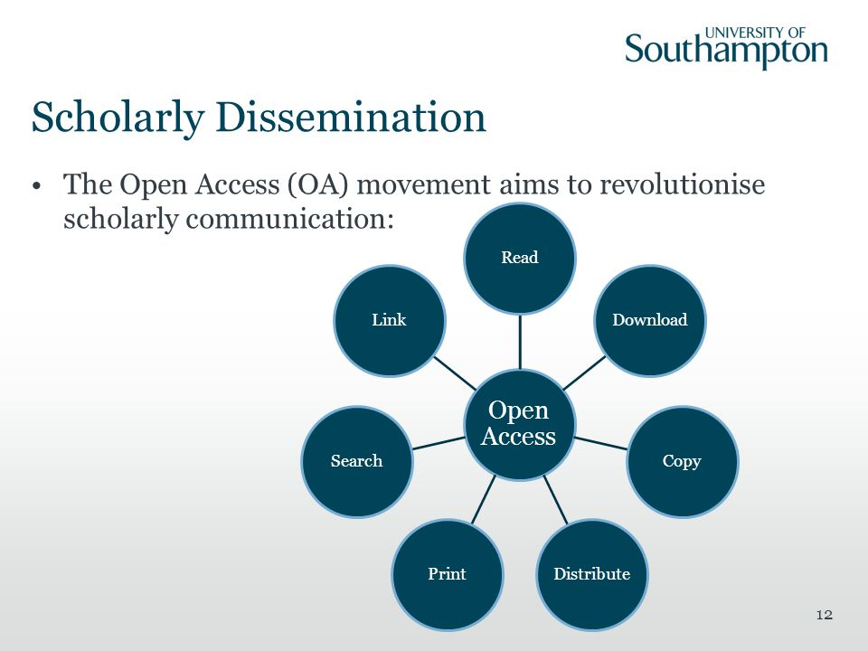 Scholarly Dissemination The Open Access (OA) movement aims to revolutionise scholarly communication: 12 Open Access ReadDownloadCopyDistributePrintSearchLink