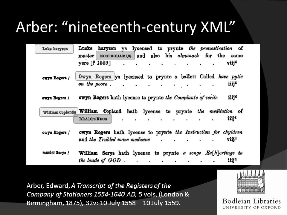 Arber: nineteenth-century XML Arber, Edward, A Transcript of the Registers of the Company of Stationers 1554-1640 AD, 5 vols, (London & Birmingham, 1875), 32v: 10 July 1558 – 10 July 1559.
